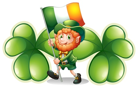 patron saint of ireland: Illustration of a man with a flag in front of the two big clover plants on a white background Illustration