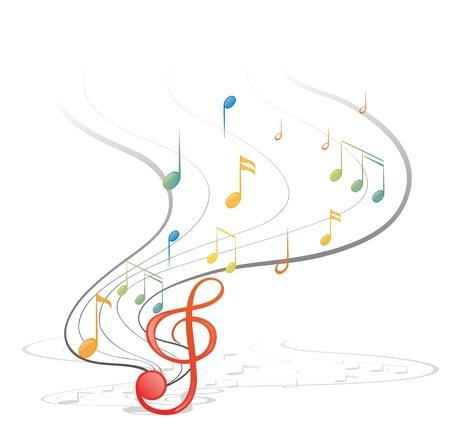 illustraiton: Ilustraci�n de las notas musicales sobre un fondo blanco