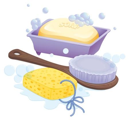Illustratie van een spons, een borstel en een zeep op een witte achtergrond