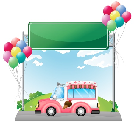 pic: Illustration of a pink ice cream bus near an empty green board on a white background Illustration