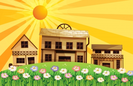 wooden houses: Illustration of the different wooden houses at the top of the hills Illustration