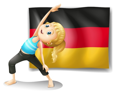 Illustration of a girl stretching in front of the flag of Germany on a white background Vector