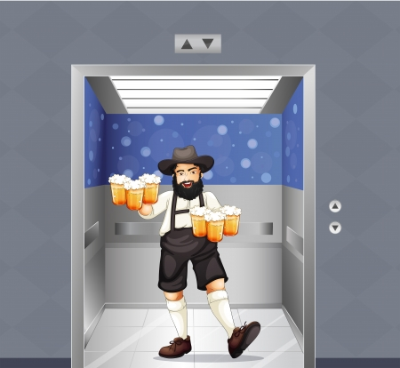 beers: Illustration of a waiter with mug of beers at the elevator