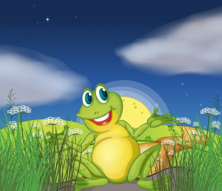 Illustration of a big green frog at the road Vectores