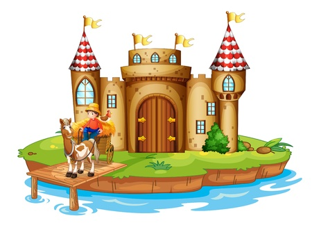 picutre: Illustration of a farm boy riding in his cart at the bridge near the castle on a white background