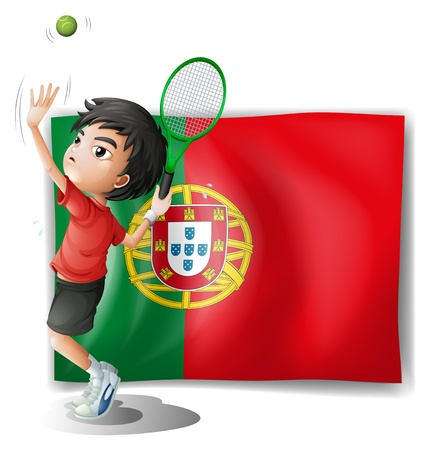 Illustration of the flag of Portugal at the back of a tennis player on a white background Vector