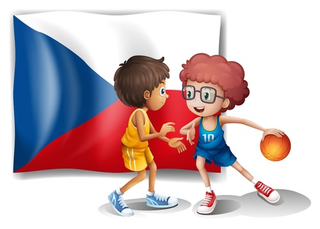 Illustration of the basketball players in front of the Czech Republic flag on a white background Vectores