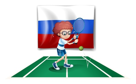 Illustration of a tennis player in front of the Russian flag on a white background Stock Vector - 18389776
