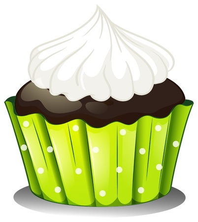 Illustration of a chocolate cupcake with an icing on a white background Stock Vector - 18389644