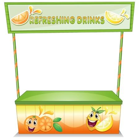 bancarella: Illustrazione di una stalla per le bevande rinfrescanti su uno sfondo bianco