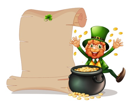 leprechaun background: Illustration of an empty signage beside a man and a pot of coins on a white background Illustration