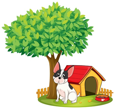 Illustration of a doghouse and a dog under a tree on a white background