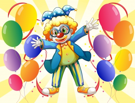 Illustration of a clown with colorful party balloons Stock Vector - 18390356