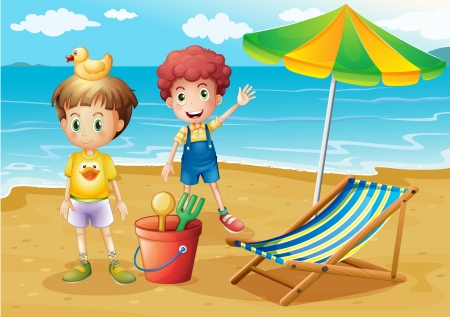 kids playing water: Illustration of the kids at the beach with an umbrella and a foldable bed