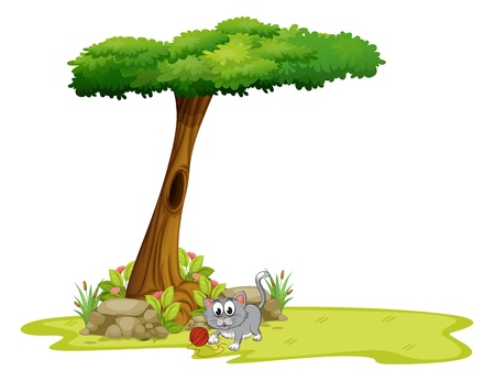 tree grass: Illustration of a gray cat under a tree with a hole on a white background
