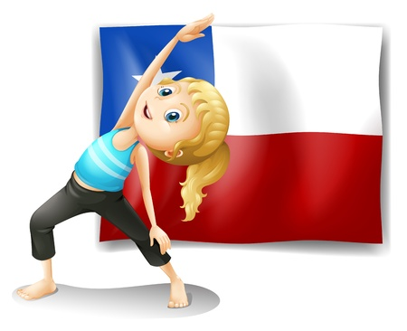 chile flag: Illustration of a girl stretching in front of a flag on a white background
