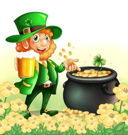 Illustration of an old man holding a mug of beer near a pot of coins Vector