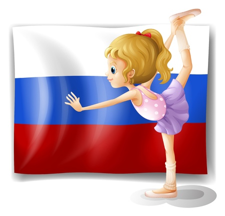 picutre: Illustration of the flag of Russia with a ballet dancer on a white background Illustration
