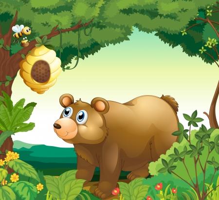 oso caricatura: Ilustración de un gran oso pardo mirando a la colmena Vectores