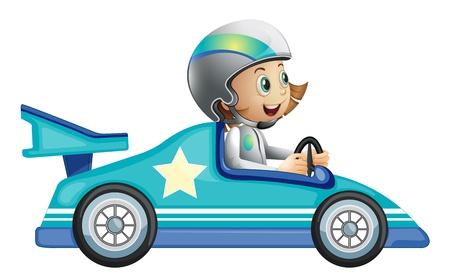 course de voiture: Illustration d'une jeune fille dans une comp�tition de course de voiture sur un fond blanc Illustration