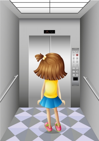 Illustration of a little girl at the elevator Vector