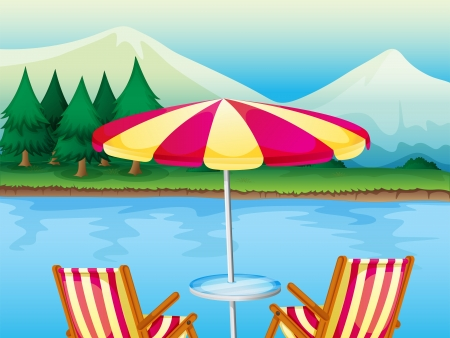 Illustration of a beach umbrella with chairs Vector