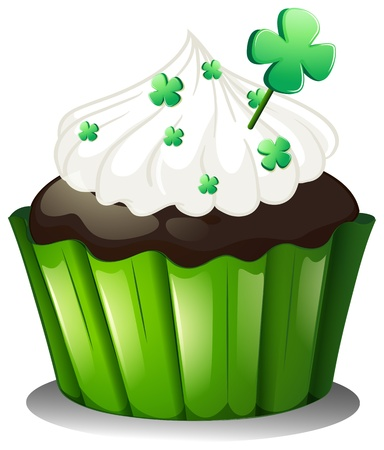 patron saint of ireland: Illustration of a chocolate cupcake for St. Patricks Day on a white background Illustration