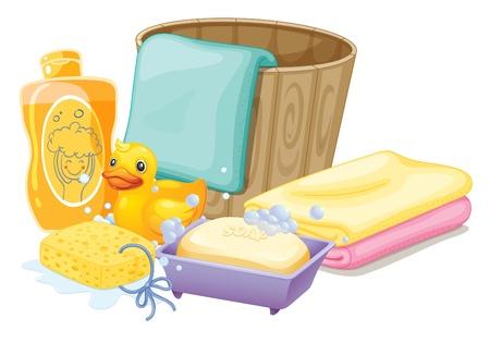 Illustration des choses nécessaires à prendre un bain