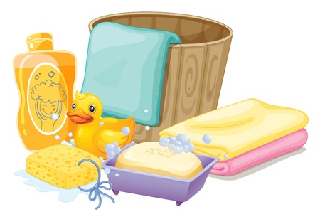 Illustration of the things needed in taking a bath   Vector
