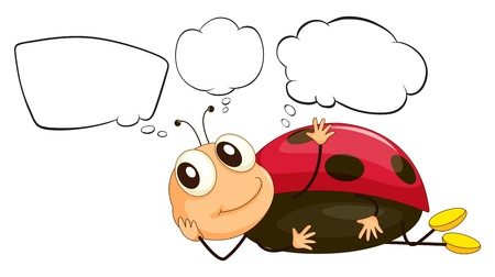Illustration of a bug with empty thoughts on a white background Vector