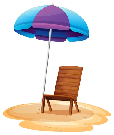 Illustration of a stripe beach umbrella and a wooden chair on a white background Illustration