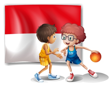 Illustration of the flag of Indonesia at the back of the basketball players on a white background Vector