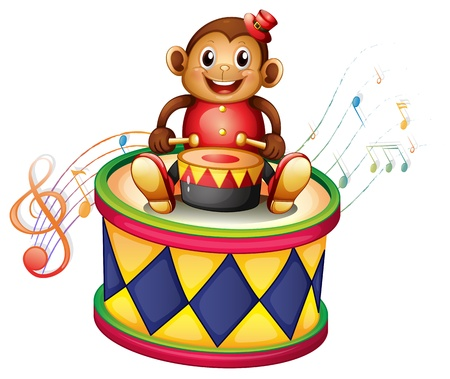 Illustration of a monkey above a big drum on a white background Vector