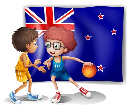 picutre: Illustration of the flag of New Zealand in front of the basketball players on a white background
