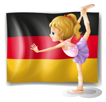 Illustration of a ballet dancer in front of the flag of Germany on a white background Vector