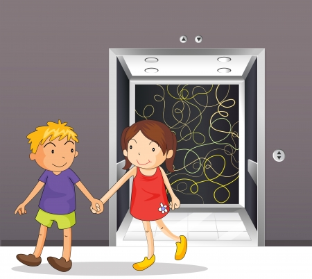 Illustration of a girl and a boy holding hands near the elevator Vector