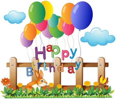 Illustration of a happy birthday greeting with balloons on a white background Vector