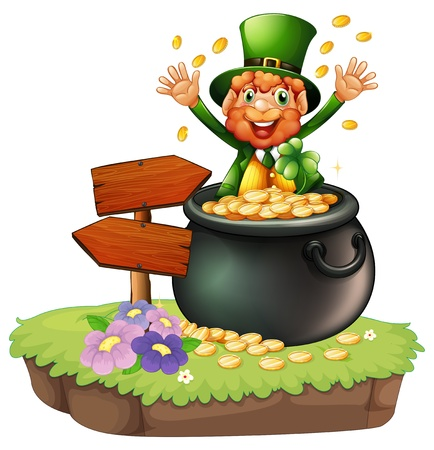 feast of saint patrick: Illustration of an old man inside a pot of coins beside an arrow board on a white background