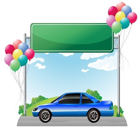 colorul: Illustration of a green empty signage above a blue tinted car on a white background