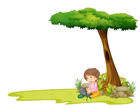 白い背景の上のツリーの下でノート パソコンを持つ少年のイラスト