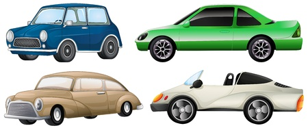 Illustration of the four sets of luxury cars on a white background