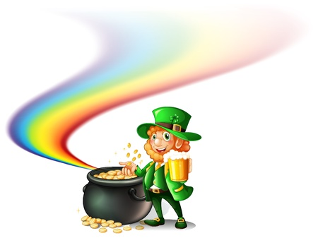 patron saint of ireland: Illustration of an old man near a big pot full of coins on a white background Illustration