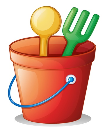 shovels: Illustration of the beach toys for kids on a white background