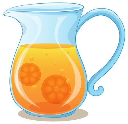 jugs: Illustration of a pitcher of orange juice on a white background Illustration