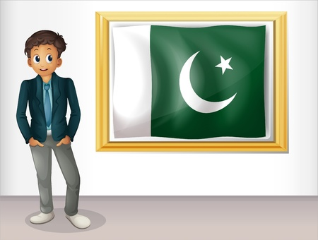 pakistani: Illustration of a man beside the framed flag of Pakistan on a white background