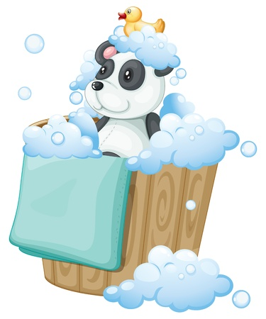 stuff toys: Illustration of a  panda toy and a rubber duck inside a pail on a white background Illustration