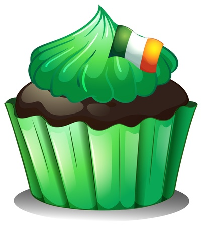patron saint of ireland: Illustration of a green cupcake with the flag of Ireland on a white background