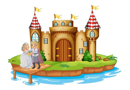 Illustration of a prince and a princess at the wooden bridge near the castle on a white background
