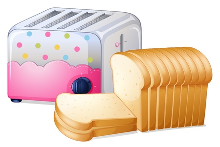 Illustration of an oven toaster and slices of breads on a white background Vector