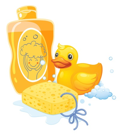 Illustration of a bubble bath with a sponge and a toy duck on a white background Vector